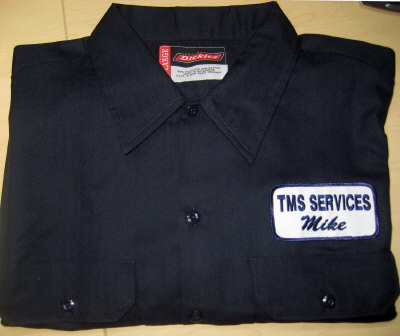 work shirt with an embroidered name patch long sleeve