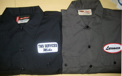 Work Shirt With An Embroidered Name Patch Short Sleeve